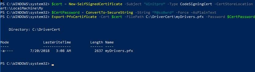 создать самоподписанный сертфикат для подписывания кода в Powershell