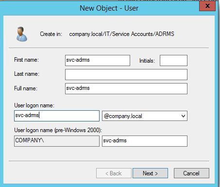 Служебная учетная запись svc-adrms