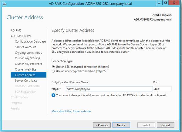 SSL адрес кластера rms