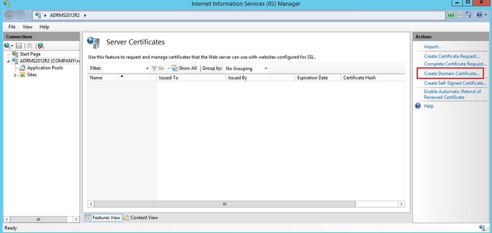 Создать новый сертификат IIS