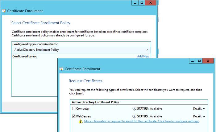Запрос нового сертификата на шаблоне WebServers