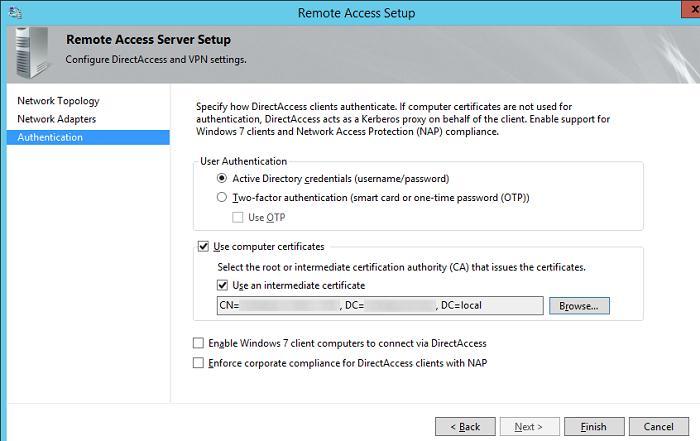 Параметры аутентификации клиентов DirectAccess