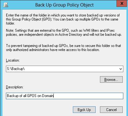 Каталог для сохранения резервной копии GPO