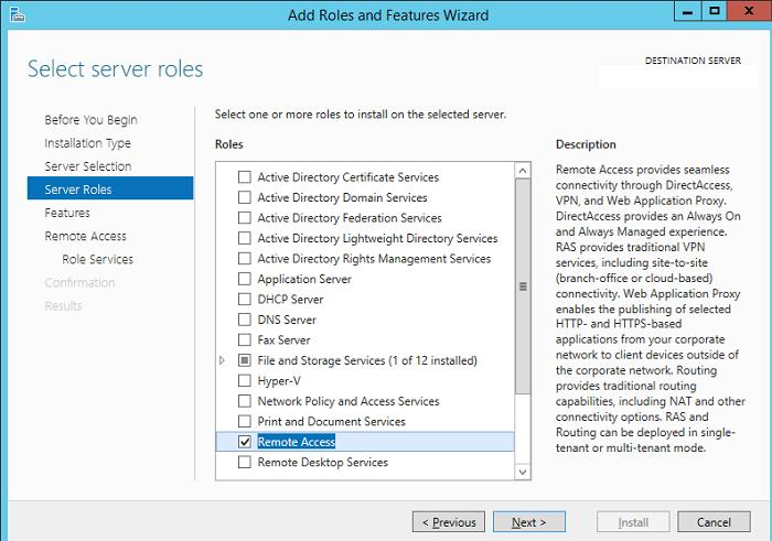Установка роль Remote Access в Windows Server 2012 R2