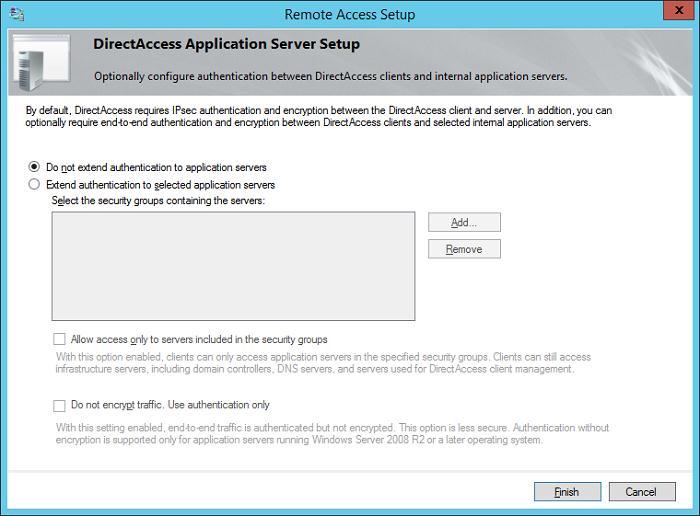 directaccess не использовать расширенную аутентификацию серверов приложений
