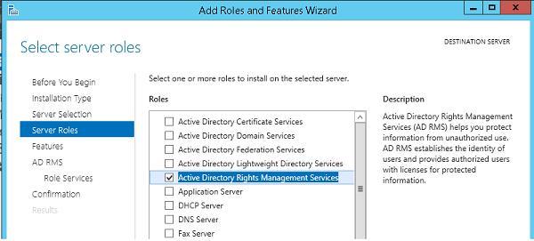 Установка роли Active Directory Rights Management Service в windows server 2012 r2