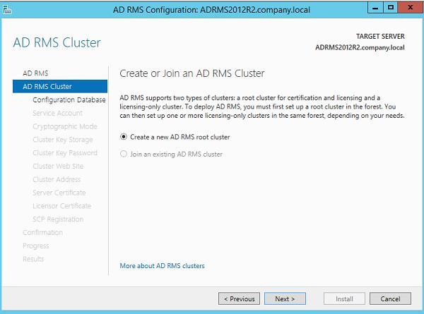 новый корневой кластер AD RMS