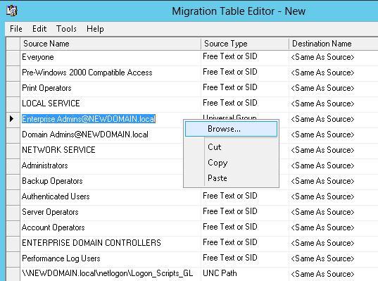Файл соответствий имен / объектов в двух доменах