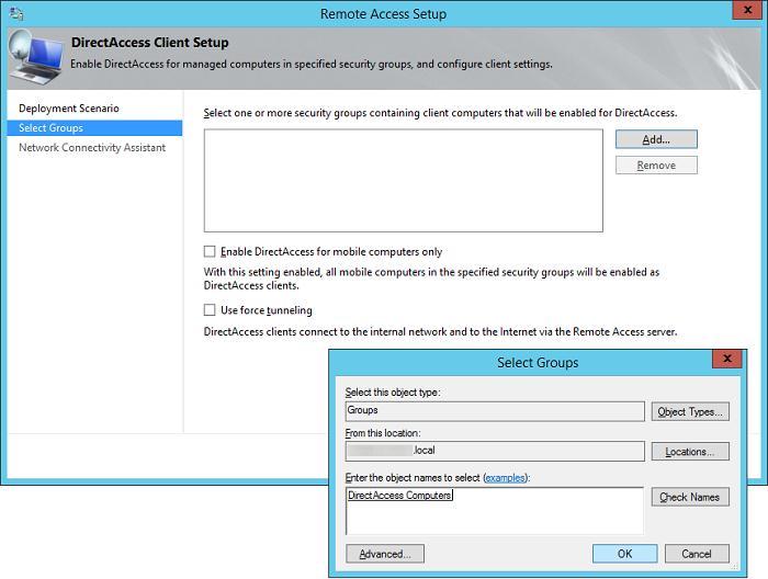 Выберем группы компьютеров в active directory, которым разрешен доступ через  directaccess