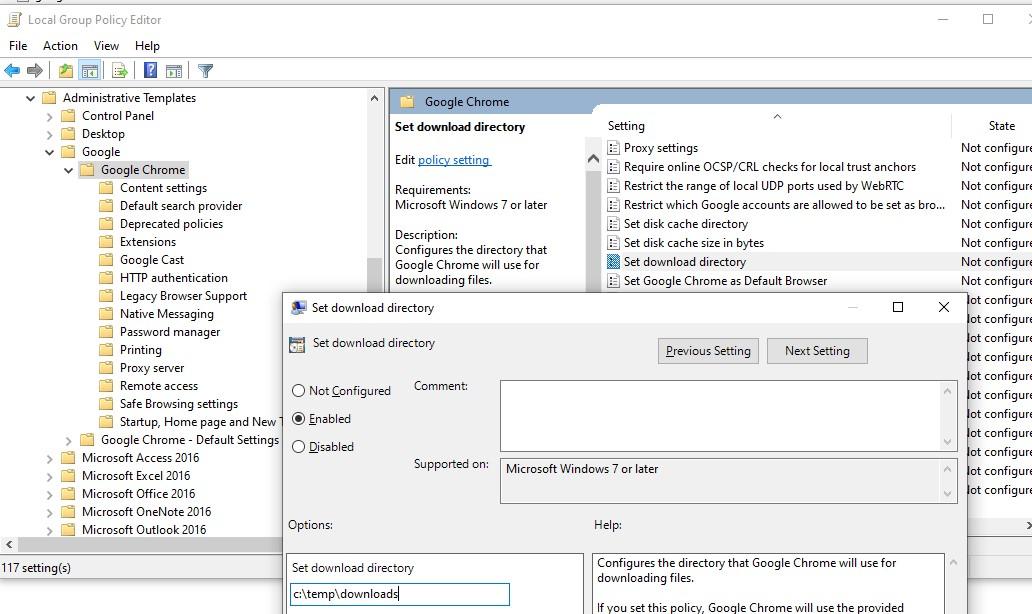 gpo chrome: измеить папку загрузки downloads