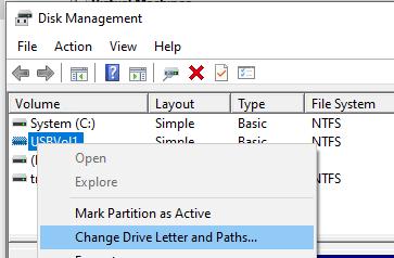 изменить букву usb диска