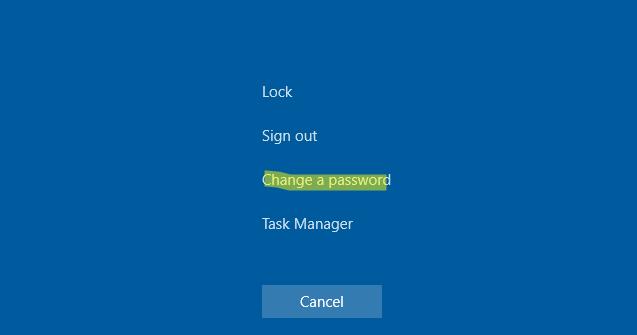 изменить пароль в RDP с помощью комбинации Ctlr + ALt + End