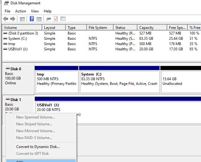 перевести usb диск на хосте hyper-v в офлайн