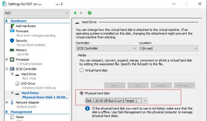 проброс USB диска в виртуальную машину hyper-v