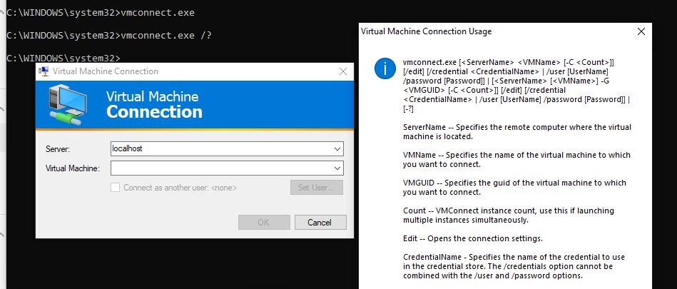 утилита подключения к консоли виртуальной машины vmconnect.exe (Virtual Machine Connection)