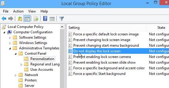 Групповая политика Do not display the lock screen (Запрет отображения экрана блокировки)