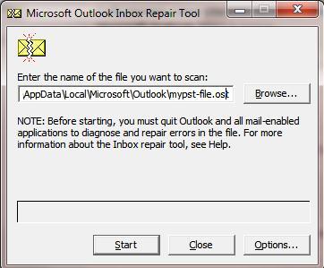 scanpst.exe - утилита для восстановления pst файлов