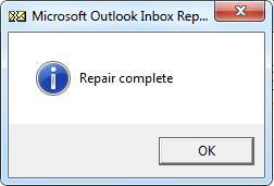 Repair complete - восстановление pst файла завершено