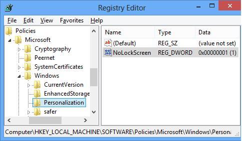 Реєстр відключаємо екран блокування - гілка Personalization параметр nolockscreen 0