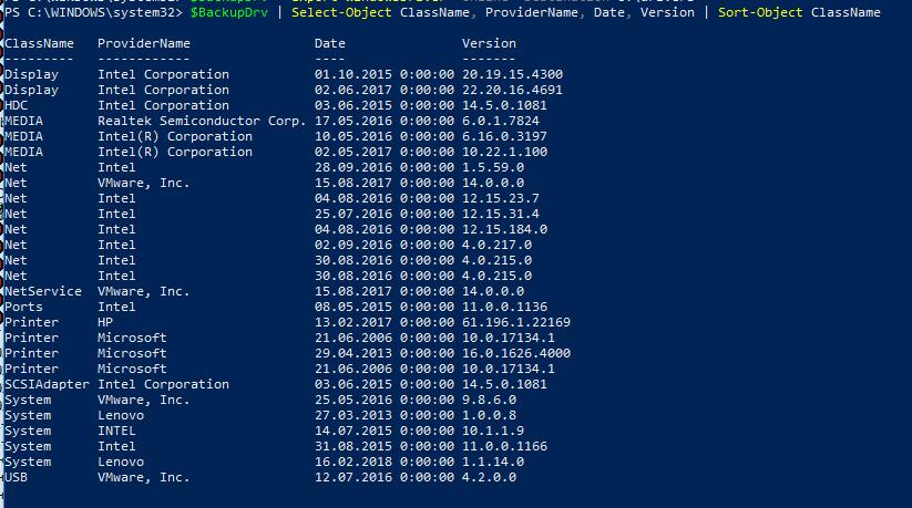 таблица со списком сторонних драйверов, установленных в Windows
