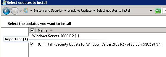 Выберите обновление Windows которое нужно удалить