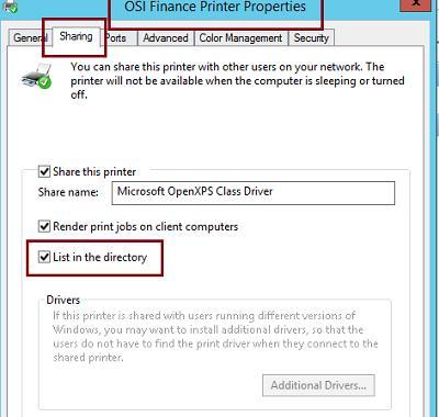 Опубликовать принтер в Active Directory
