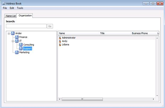 Відкрити ієрархічну адесную книгу в Outlook 2010.