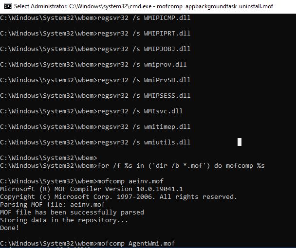 сброс и восстановление хранилища wmi в windows 10