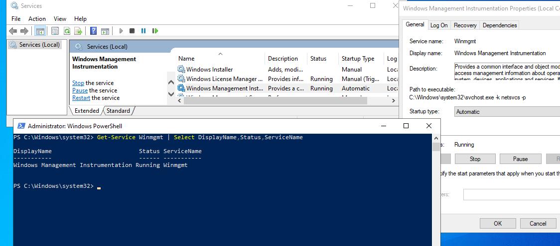 служба Windows Management Instrumentation (Winmgmt) работает