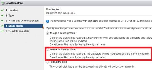 подключить существующее vmfs хранилище