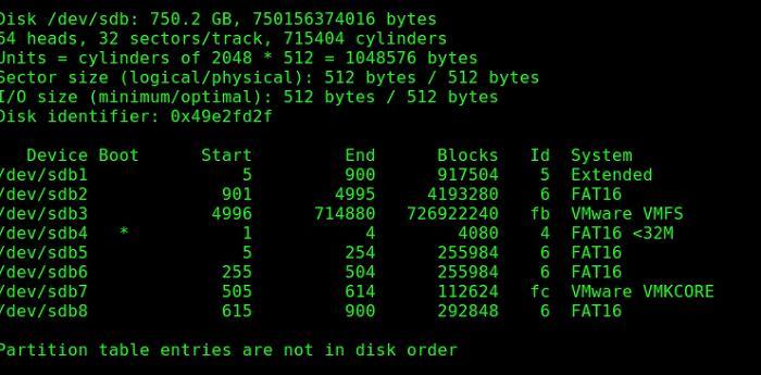 vmware vmfs список розділів за допомогою fdisk