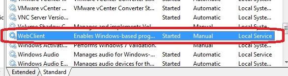 служба windows webclient