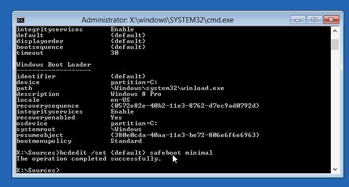 bcdedit - принудительная загрузка Windows 8 в безопасном режиме