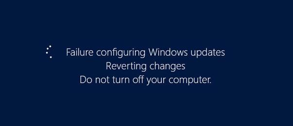 Помилка налаштування оновлень Windows.  Повернення змін.  Не вимикайте комп'ютер