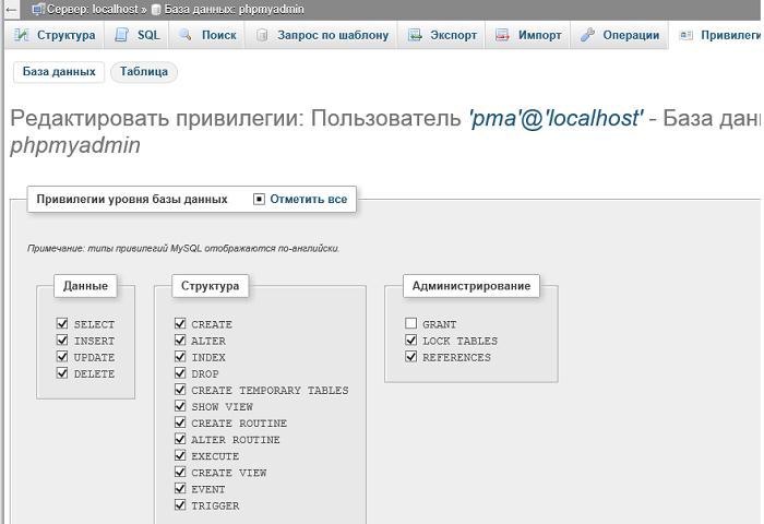 pma права доступа на базу phpmyadmin