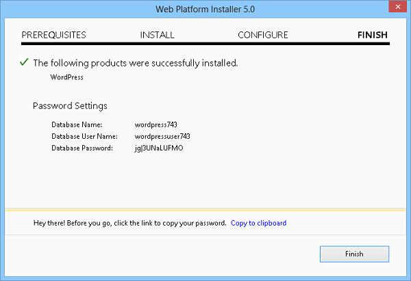 web platform installer параметры БД для wordpress
