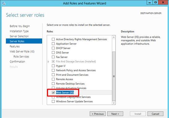 установка web server iis в windows server 2012