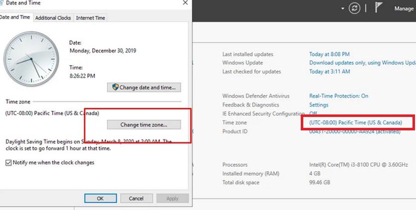 windows server manager изменить часовой пояс