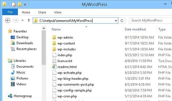 каталог с распакованным wordpress
