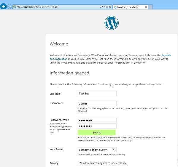 wordpress экран первоначальной настройки