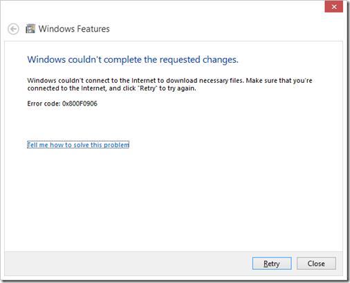 Ошибка установки 0x800F0906 .net frawework 3.5 в Windows 8.1