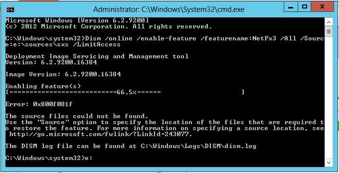 Ошибка 0x800f081f установки .NET 3.5 с помощью DISM