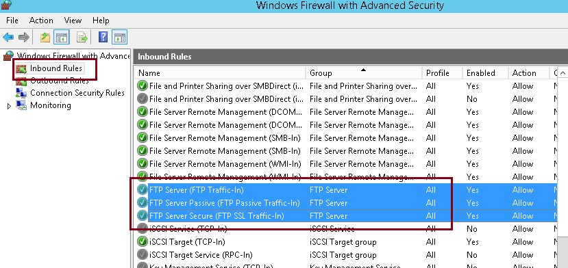 вбудовані правила брандмауера • FTP Server (FTP Traffic-In)