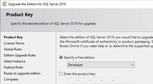 обновление evaluation редакции sql server до developer edition