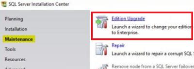 обновление редакции SQL Server