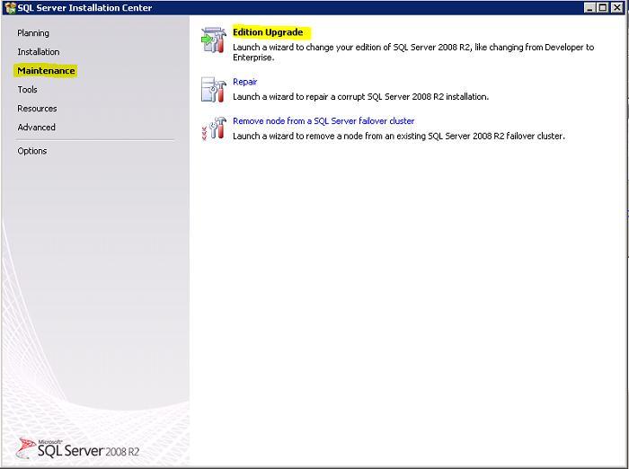 sql server майстер поновлення ліцензій - Edition Upgrade