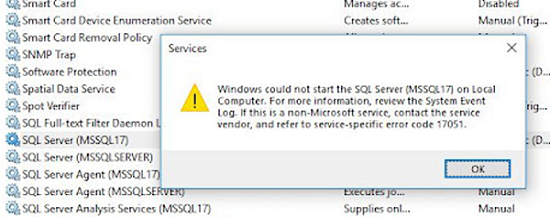 Windows could not start the SQL Server ошибка 17051