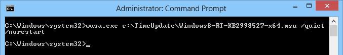 Установка обновления KB2998527 из командной строки wusa