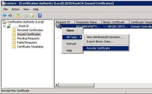 Revoke Certificate - отзыв сертификатов