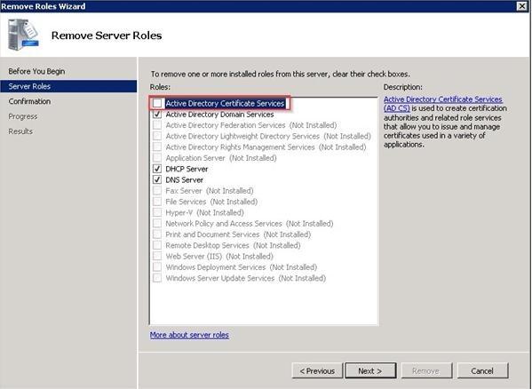 Удаление роли Active Directory Certificate Services